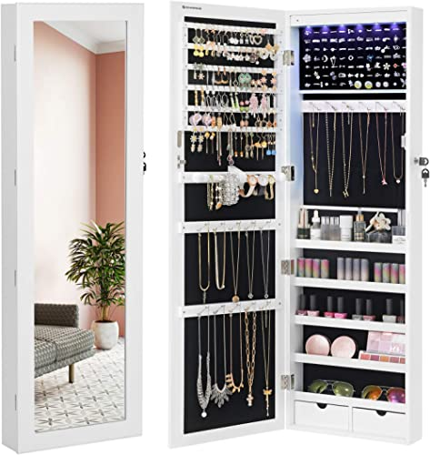 "SONGMICS 6 LEDs Mirror Jewelry Cabinet, 47.3""H Lockable Wall/Door Mounted Jewelry Armoire Organizer with Mirror, 2 Dr..."