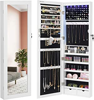 "SONGMICS 6 LEDs Mirror Jewelry Cabinet, 47.3""H Lockable Wall/Door Mounted Jewelry Armoire Organizer with Mirror, 2 Drawers, Pure White UJJC93W"