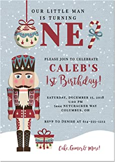 Nutcracker Boys 1st Birthday Party Invitation, Base price is for a set of 10 5x7 inch card stock invitations with white envelopes