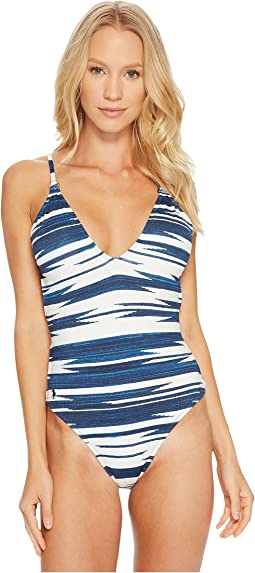 Polo Ralph Lauren Native Ikat Stripe Laced Back and Side Mio One-Piece