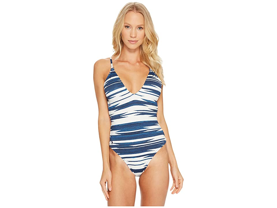 Polo Ralph Lauren Native Ikat Stripe Laced Back and Side Mio One-Piece (Indigo) Women