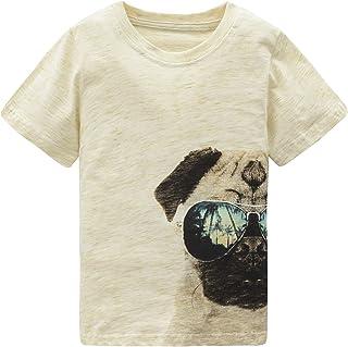 HowJoJo Boys Cotton Short Sleeve T-Shirts Pug Shirt Summer Graphic Tees