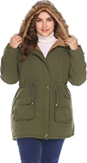 Womens Plus Size Hooded Winter Coats Anroaks Parka Coats Fleece Outwear Jacket