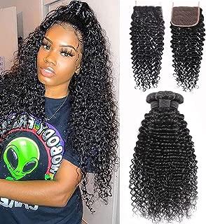 Brazilian Deep Wave Bundles with Closure 20 22 24+18 Unprocessed Virgin Human Hair Deep Curly Bundles with Free Part Lace Closure Natural Black(20 22 24+18 Closure)