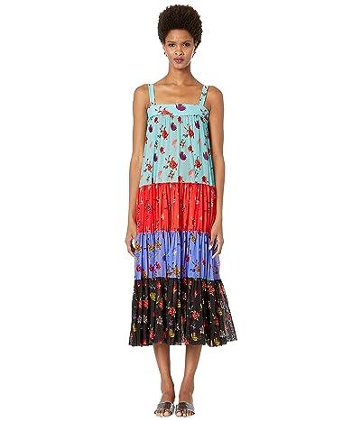 FUZZI Tulle Print Tiered Dress (Patchwork) Women