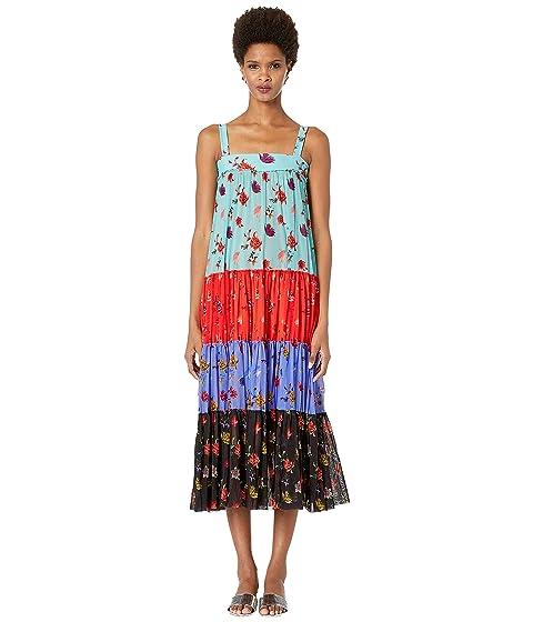 FUZZI Tulle Print Tiered Dress