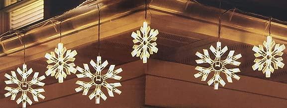 DuraCasa 90 Twinkling Snowflake Lights Icicle Light Set with Bonus Gutter Hooks, 6 Feet Lighted Length - 7.5 Feet Total Length (White)
