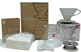 Hario V60 Coffee Pour Over Kit Bundle Set - Comes with Ceramic Dripper, Range Server Glass Pot, Measuring Spoon, and 100 C...