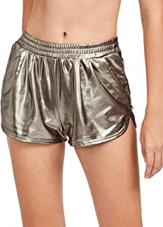 SweatyRocks Women's Yoga Hot Shorts Shiny Metallic Pants Gold XS
