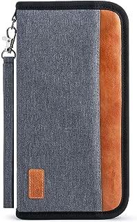 Family Passport Holder RFID-Blocking Travel Wallet Ticket Holder Document Organizer with Zipper for Women & Men, Fits 5 Passports (Large, Grey)