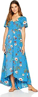 Wild Oasis Beachwear Women's Short Sleeves Floral Printed Maxi Dress with Button Detailing & Slit