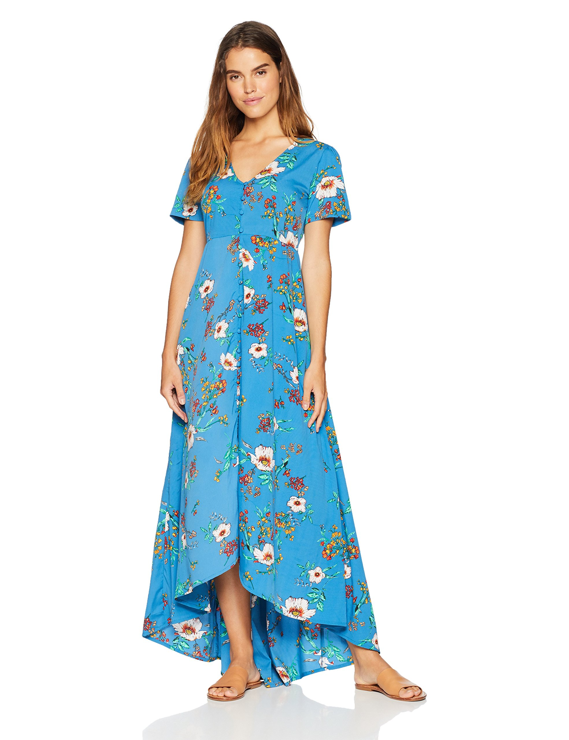 Available at Amazon: Wild Oasis Beachwear Women's Short Sleeves Floral Printed Maxi Dress with Button Detailing & Slit