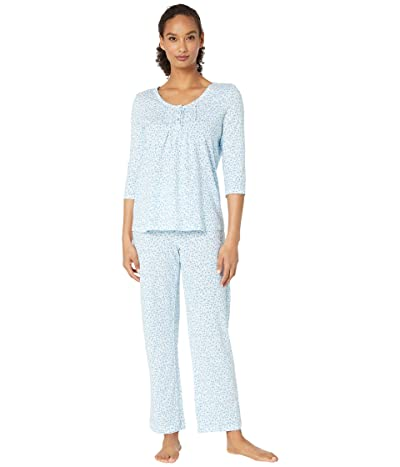 Carole Hochman Soft Jersey 3/4 Sleeve Long Pajama Set (Aqua Multi Ditsy) Women