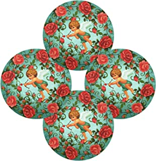 Cupid's Arrow and Rosettes Cloth Round Plate Mat Multicolored Plate Mat Set of 4 Pieces for Dining Table Heat Resistant Cl...