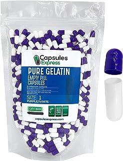 Capsules Express- Size 1 Purple and White Empty Gelatin Capsules- Kosher - Pure Gelatin Pill Capsule - DIY Powder Filling ...