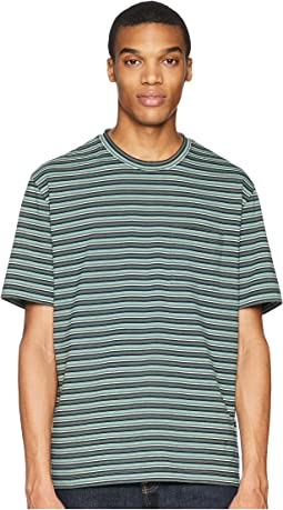 Multi Stripe Short Sleeve Pocket Crew