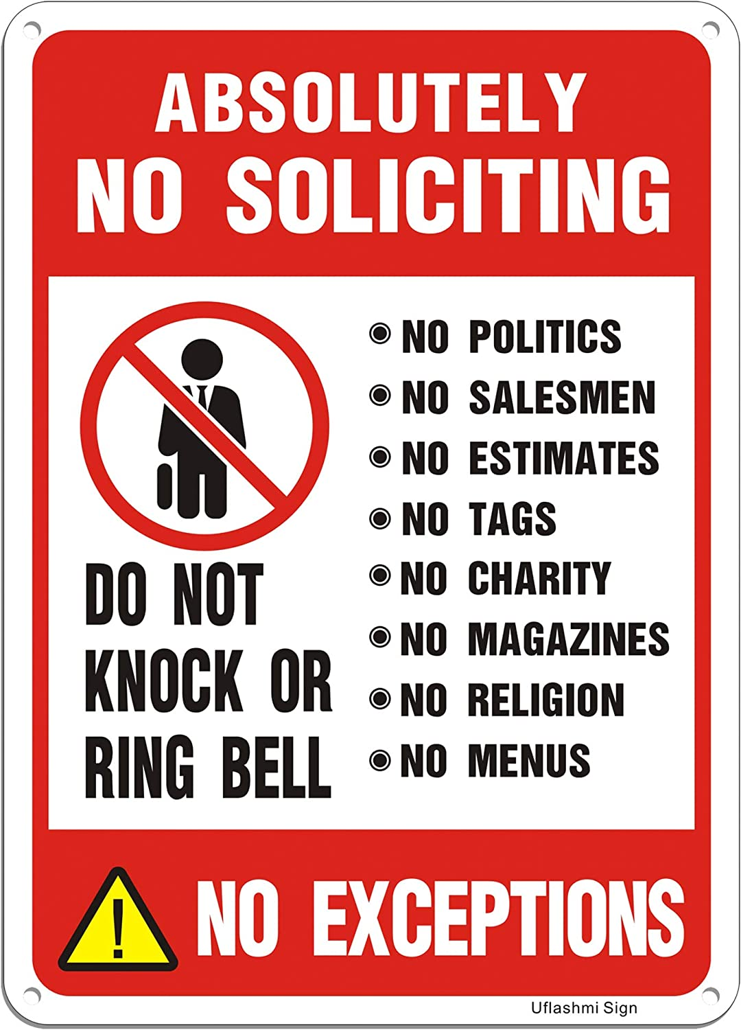 Uflashmi No Soliciting Directly managed store Sign for Absolutely Door S Max 62% OFF House Yard