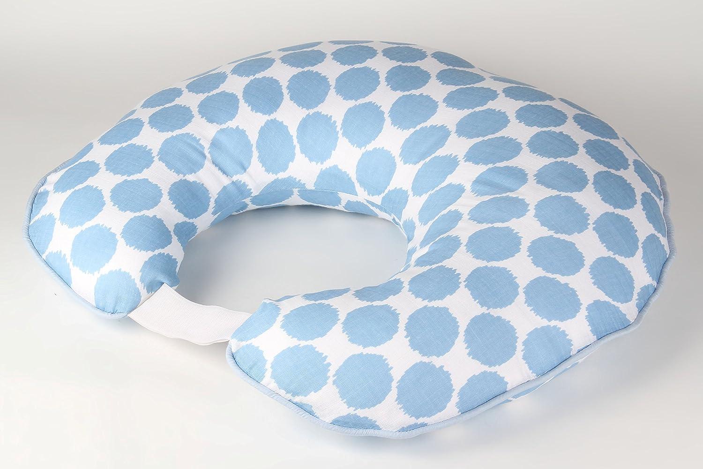 Bacati Blue Ikat Dots Muslin Fabric Hugster Nursing Pillow with Insert 100 Percent Cotton