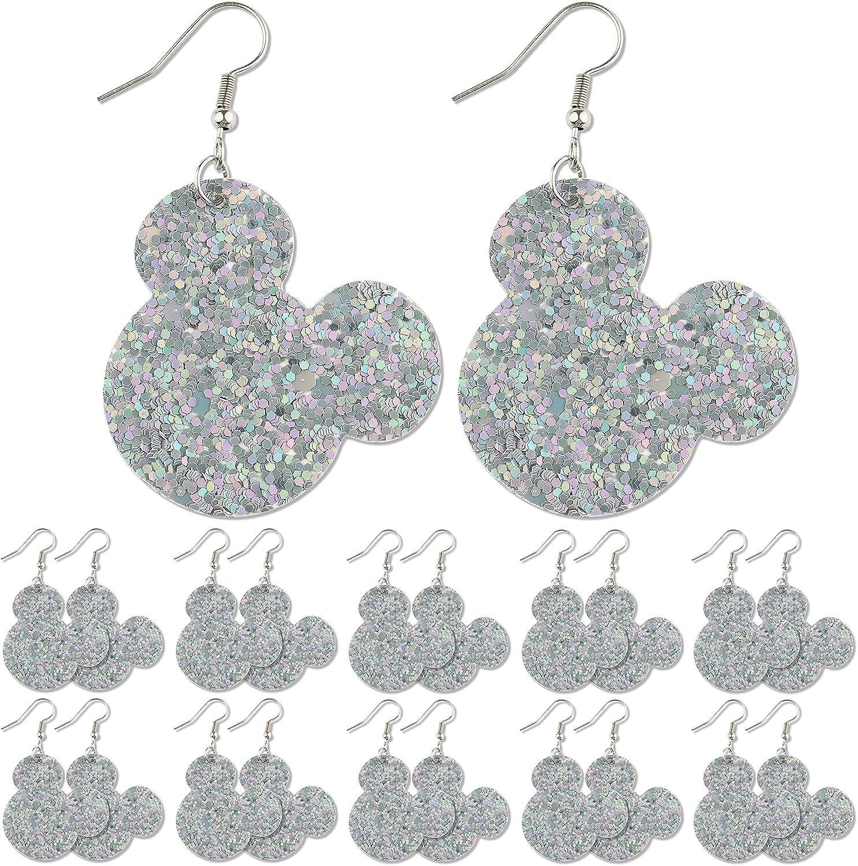 LINGSAI 10 Pairs Faux Leather Earrings - Lightweight Personalised Double Glitter Drop Dangle Earrings for Women Girls