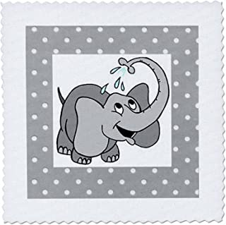3dRose Adorable Baby Elephant On Dotted Gray and White - Quilt Square, 6 by 6-Inch (qs_37284_2)