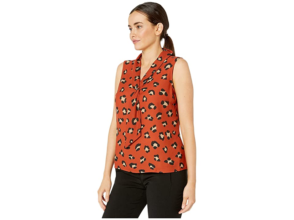 Tahari by ASL Sailor Top (Spiced Leopard) Women's Blouse, Brown