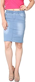 FCK-3 Women's Silky Stretchable Denim Pencil Fit Skirt with Pockets