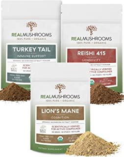 Real Mushrooms Cognition, Longevity, & Immune Support Bundle - Lion's Mane Extract Powder (60g) | Reishi 415 Extract Powde...