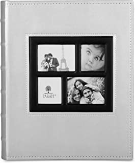 PARAH LIFE Luxury 200 5X7 Photo Album for Wedding Anniversary Vacation Baby and Family Photos Beautiful Leather Bound Picture Display Book for 200 5x7 Photographs Scrapbook Foto Silver