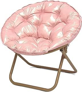 Urban Shop Iridescent Rose Gold Saucer Chair with Gold Legs