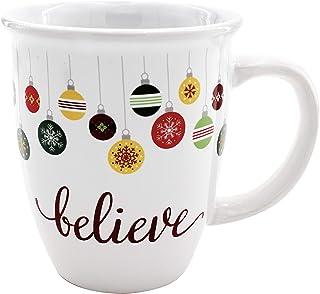 كوب قهوة من السيراميك لعيد الميلاد بسعة 354.88 مل مع ديكورات تقليدية لموسم العطلات وأمنيات الكريسماس من الخارج الأبيض مع ز...