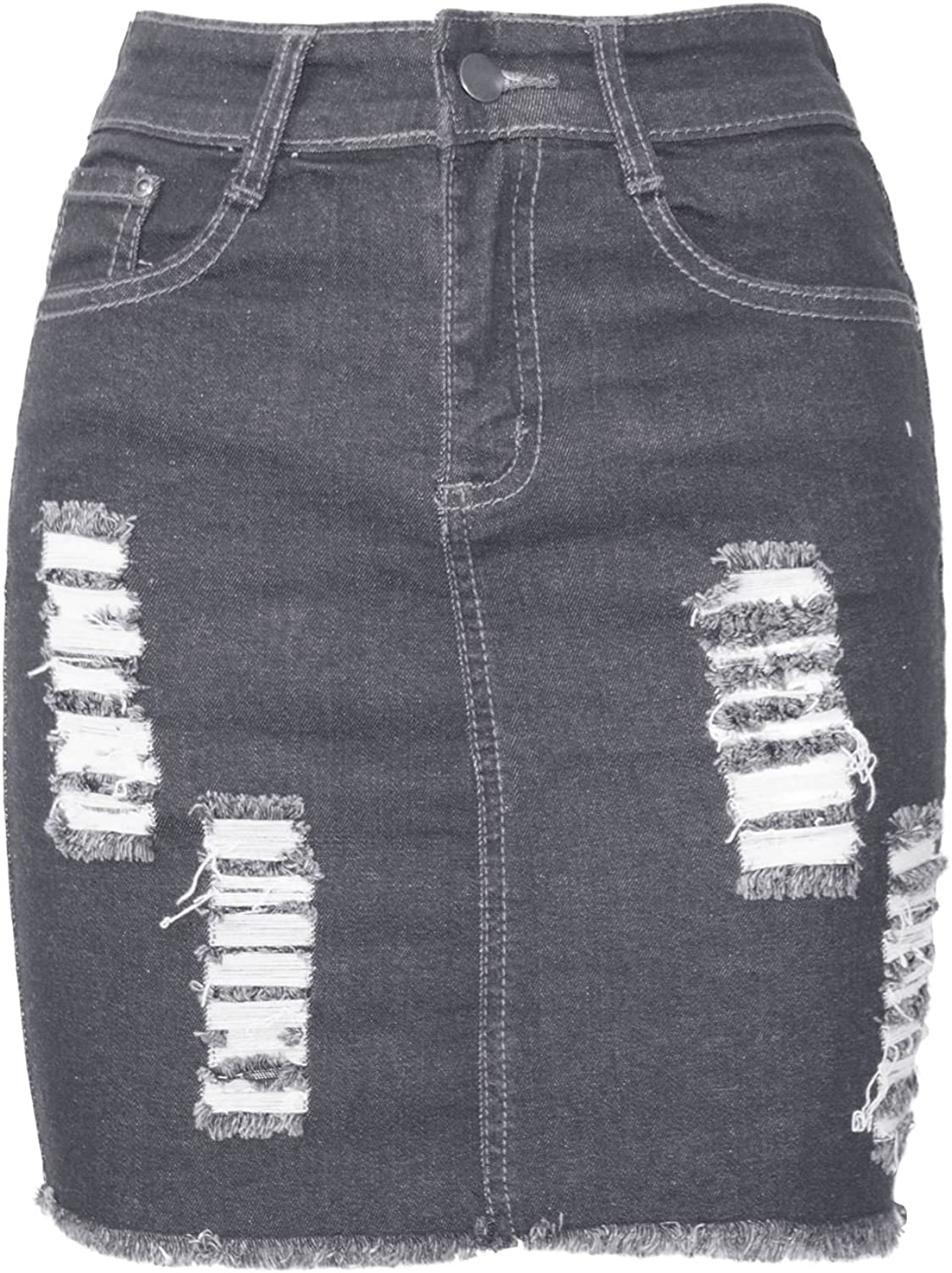 Be Jealous Womens Denim Ripped Distressed Raw Edges Faded Stretchy Bodycon Skirt