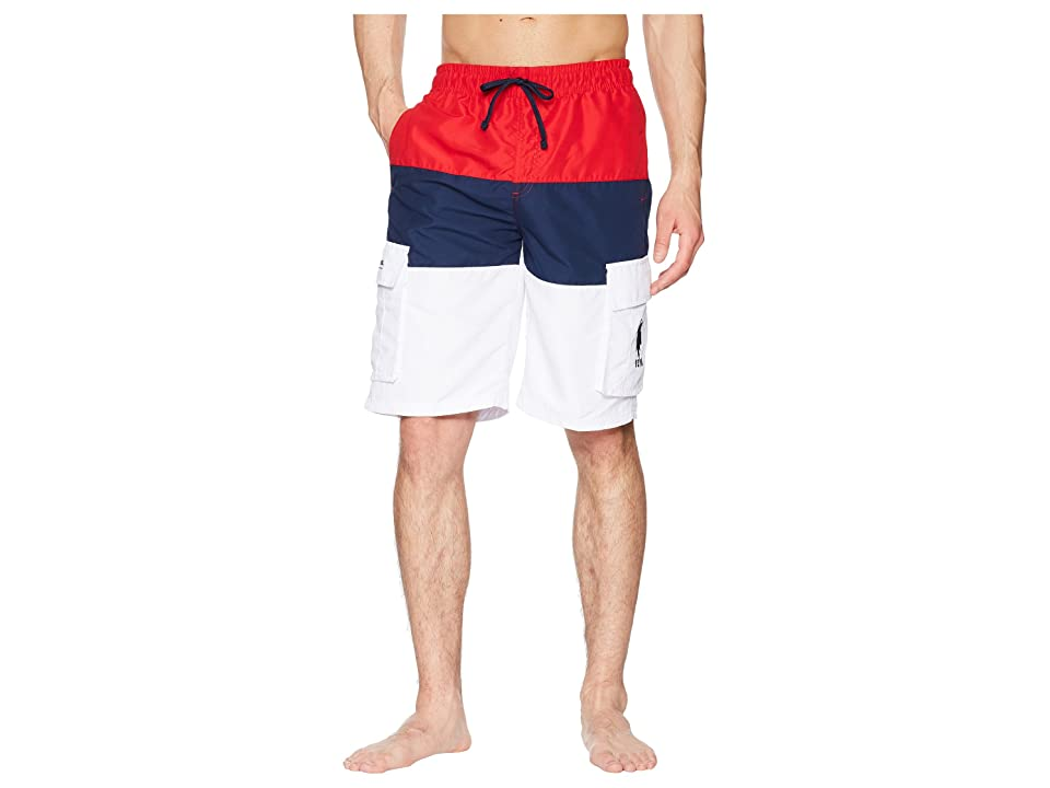 U.S. POLO ASSN. 11 Tricolor Block Cargo Boardshorts (Engine Red) Men