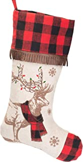 Your Heart's Delight Reindeer with Scarf Red Plaid 18 x 11 Soft Polyester Christmas Stocking