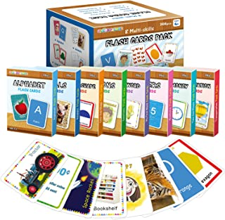 Flash Cards for Toddlers Age 2-4 Years Old, Set of 8-Numbers,Alphabets,First Sight Words,Colors & Shapes, Animals,Emotion...