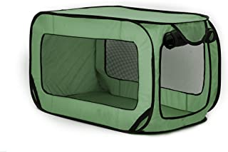 Love's cabin 36in Portable Large Dog Bed - Pop Up Dog Kennel, Indoor Outdoor Crate for Pets, Portable Car Seat Kennel, Cat Bed Collection, Green/Red