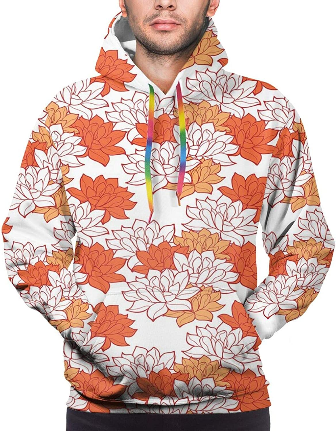 Men's Hoodies Sweatshirts,Blossoming Flowers with Sketch Buds and Leaves On Beige Background