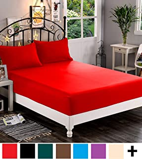 Elegant Comfort Premium Hotel 1-Piece, Luxury & Softest 1500 Thread Count Egyptian Quality Bedding Fitted Sheet Deep Pocket up to 16inch, Wrinkle and Fade Resistant, Twin/Twin XL, Red