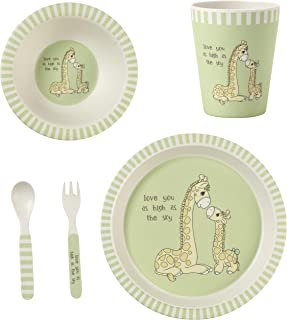 Precious Moments Love You As High As The Sky Giraffe Toddler Mealtime Feeding Set, Dinnerware, Green