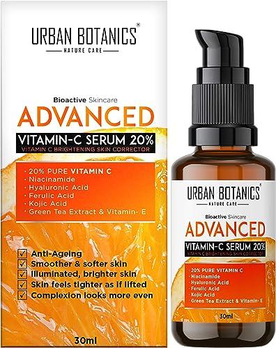 UrbanBotanics Advanced Vitamin C Face Serum 20% - Men & Women - with Hyaluronic, Ferulic & Kojic Acid, Niacinamide, G...