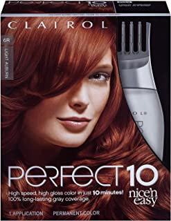 Clairol Perfect 10 By Nice 'N Easy Hair Color Kit, 1 Count, 006R Light Auburn Color, Includes Comb Applicator, Lasts Up To...
