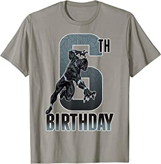 Black Panther Action Pose 6th Birthday Graphic Tee