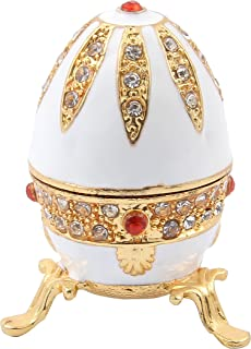QIFU Faberge Egg Hand Painted Enamel Hinged Jewelry Trinket Box | Best Ornament for Your..