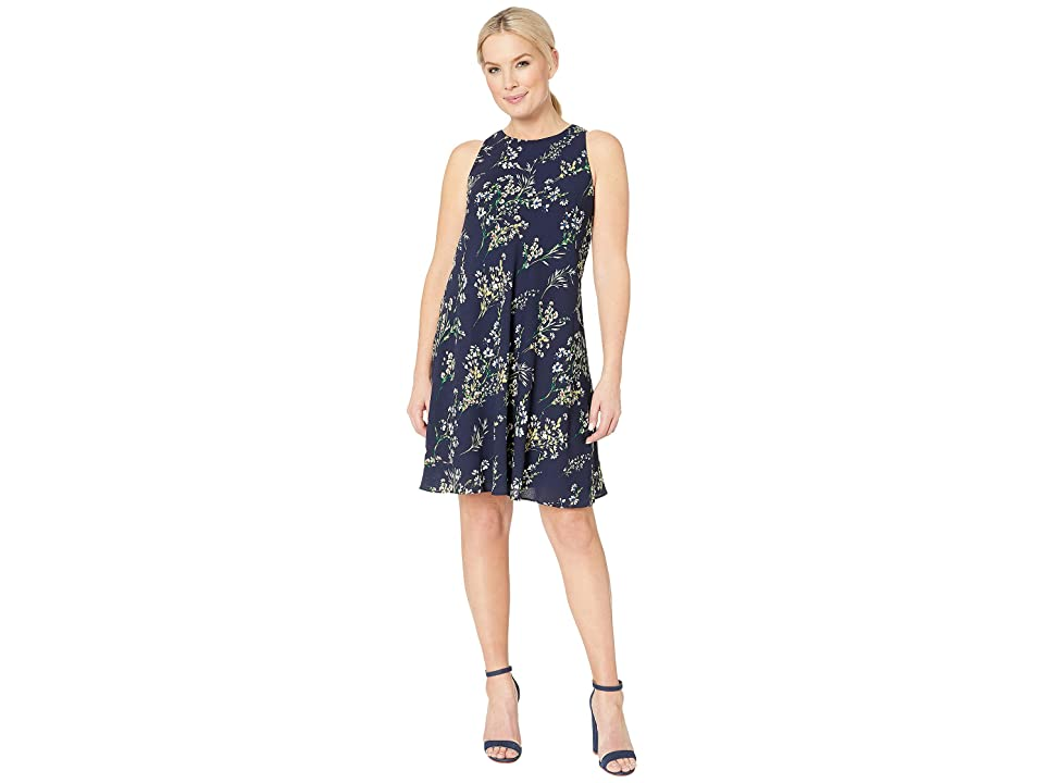 LAUREN Ralph Lauren B795 Stowe Floral Geminah Sleeveless Day Dress (Lighthouse Navy/Multi) Women