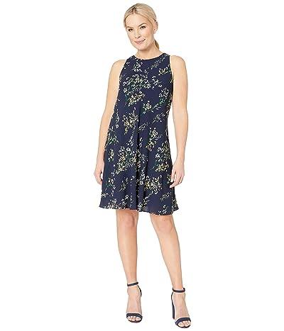 LAUREN Ralph Lauren B795 Stowe Floral Geminah Sleeveless Day Dress (Lighthouse Navy/Multi) Women