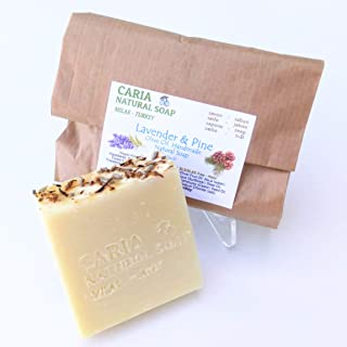 Caria Natural Soap Moisturising extra creamy Lavender and Pine Olive Oil Soap Bars with Coconut Oil & Cocoa Butter. Natural vegan hair face body wash Handmade in Turkey Shampoo Face Body (1 bar)