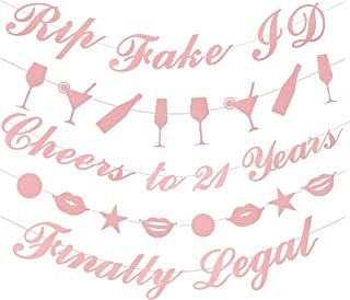 21st Birthday Decorations Party Supplies | 21st Birthday Decorations | Pack of Unique 5 Banners - 'Rip Fake ID - 'Cheers to 21 Years - 'Finally Legal' and 2 Banners with Funky Shapes (Pink) (Pink)