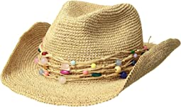Hat Attack - Raffia Crochet Cowgirl w/ Multi Stone Trim