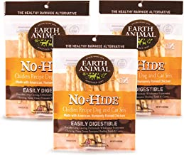 Earth Animal Stix No-Hide Dog & Cat Chews, 3 10-Count Bags (30 Chews Total) - Made in The USA, Natural Rawhide Alternative Treats (Chicken, Stix - 30 Chews)