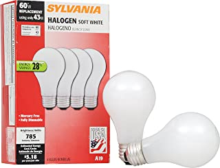 SYLVANIA General Lighting 52204 43W 2900K A19 Halogen Bulb with Medium Base and Soft White Finish (4 Pack), 4 Piece