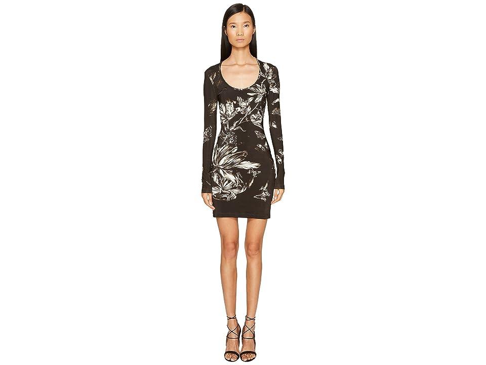 Just Cavalli Long Sleeve Tulip Heaven Print Jersey Dress (Black) Women